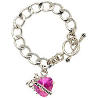 Juicy Couture Silver Hot Pink Heart Bracelet