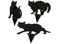 Set Of 3 Woodside Black Cat Garden Scarer Deterrent Pest/Bird/Rodent/Fox/Pond