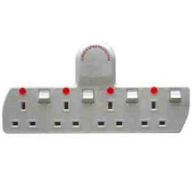 Cable free quality 4 way socket adaptor, converts one wall socket into four sockets, only £5