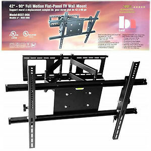 "Full-Motion Wall Mount for 42-90"" TV upto75 kg / 165 lb BEST 008"