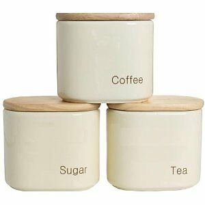 tea coffee and sugar storage canisters cream yellow by. Black Bedroom Furniture Sets. Home Design Ideas