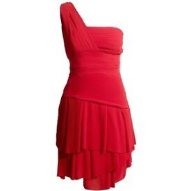 New REISS Dacey Pleated Frill Dress, UK Size 8, Rouge Red