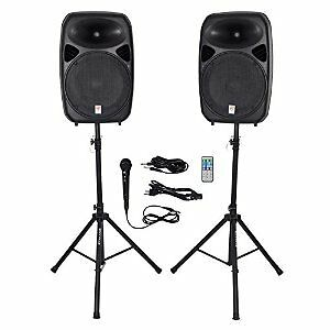 "Pair of 15"" Active DJ PA Speakers with Bluetooth and Mic"