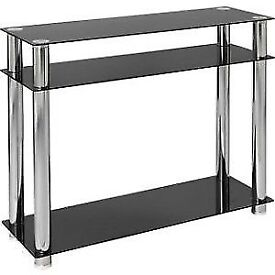 Black glass and chrome console table - £20