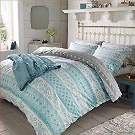 Dreamscene Nordic Duvet Cover with Pillowcase Bedding Set, Aqua, Single