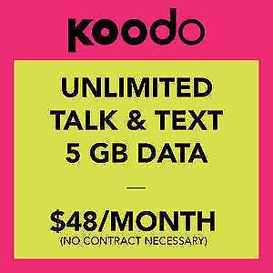 ★ $48 Koodo Plan ★ UNLTD CDN TLK/TXT ★ 5GB LTE ★ $40 Setup Fee ★