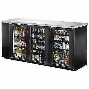 "Back Bar Cooler, Glass Door, 72"" - Stainless Steel Top and LED"