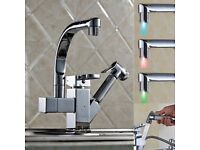 BRAND NEW BOXED Pull Out Chrome LED Stream Kitchen Bath Sink Basin Mixer Tap Faucet UK Stock