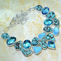 """HUGE DRUSY DRUZY+TURQUOISE+BLUE TOPAZ NECKLACE 20"""", 128 GRAMS"""