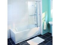NEW Wickes Keyhole Shower Bath White 1700mm. 800mm wide