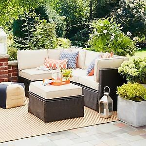 Sedona Wicker Patio Couch SET 3 pieces:2 corner chairs & middle