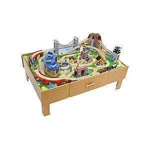 Wooden Toy Train Table & Accessories