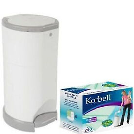 Korbell Nappy Bin 15L Starter Pack with free refills