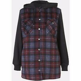 Topshop Plaid Hooded Jacket. Size 12 Excellent condition. £8.