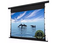 "PCW120MET 120"" HD Projector Screen 16:9 Widescreen Tab-Tensioned Electric Motorised w/ RF Remote"