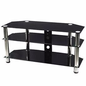 Black Glass universal corner TV Stand for 32 inch to 55 inch flat tv screens - Used but very good