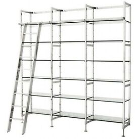 HALF PRICE - Lovely nickel and glass shelving unit - BRAND NEW