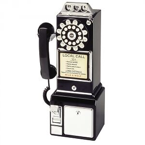 Black American Diner Payphone - Wall Mounted Phone/Retro Telephone - Wild & Wolf