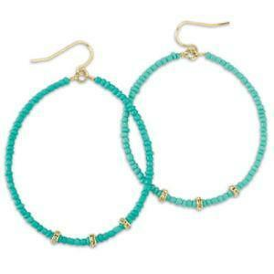 Turquoise Hoop Earrings Gold