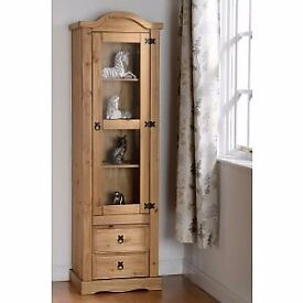 New Solid Corona Mexican pine narrow glazed display cabinet one door 2 drawer ONLY £139 & in stock