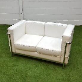 2 Seater White Le Corbusier Style Sofa