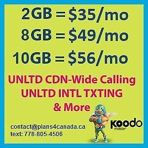 Koodo **NEW 8GB and 10GB plan** LTE with international texting