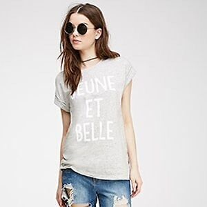 FOREVER 21 HEATHERED GREY CUFFED TEE!