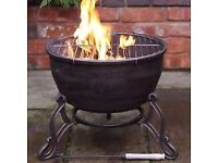CAST IRON Fire Pit Bowl + BBQ Grill ELIDIR Firepit Camping Cooker Gardeco Bronze - Brand New Sealed