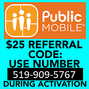 Free $25 credit with Public Mobile sign up using me as referral.