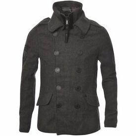 Superdry Classic Peacoat - Size L - Charcoal (P. Coat - Wool Pea Coat - Winter Jacket)