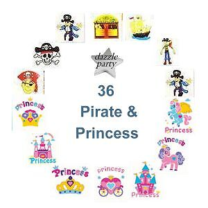 36 Childrens Pirate & Princess Temporary Tattoos, Party Bag Filler, Kids Party