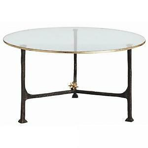 Arteriors Narnia Iron and Gold Leaf Round Side Table
