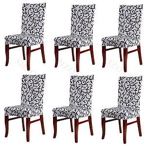 Fit Stretch Removable Washable Solid Dining Chair Slipcover