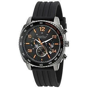 Caravelle New York Men's Quartz Watch with Chronograph Quartz Silicone 45B141