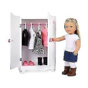 "NEWBERRY WOODEN WARDROBE FOR 18"" DOLLS CLOTHING BRAND NEW IN BOX"