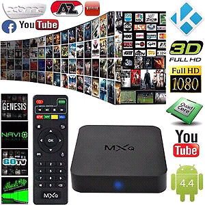 Android TV box with wireless keyboard remote.