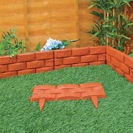 Plastic garden fence edging brick effect