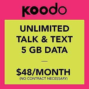 $48/mth Koodo Mobile 5GB LTE Unlimited Talk Text Plan Deal