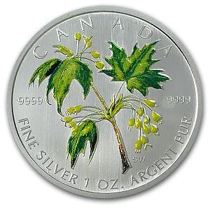 2001-2006 Coloured 1 oz Silver Maple Leaf Collector RCM Coins Edmonton Edmonton Area image 3