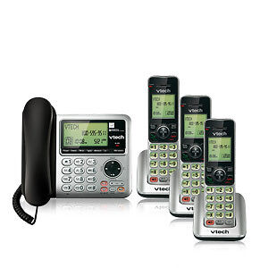 VTECH DECT 6.0 CORDED/CORDLESS COMBO - BLACK & SILVER