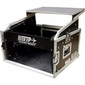 "19"" Total Impact Case 10u 4u Flight Case With Laptop Shelf and castors."