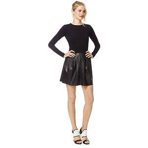 Wilfred Tartine Dress Black w/leather Size 8