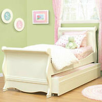 Girls Twin Sleigh Trundle Beds (2) Set With Bedside Table