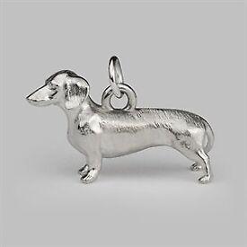 Designer Dachshund Silver Dog Charm in luxury gift box - by Stephen Einhorn London (Brand New)