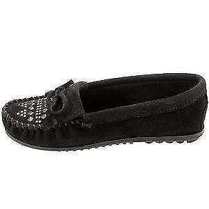 Minnetonka Moccasins Size 10 Black Suede Slip On Shoes Purple Trim Excellent
