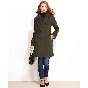 Anne Klein Double-Breasted PeaCoat (Black - Size: 6)