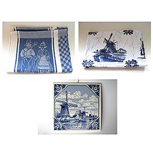 Dutch kitchen tea towels and Kinderdijk plaque