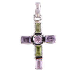 Genuine Gemstone Cross Pendant