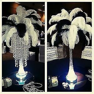 $35 ostrich feather chandelier centerpiece available for rent!