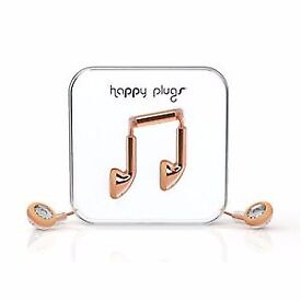 HAPPY PLUGS EARBUD EARPHONES DELUXE EDITION HEADPHONES WITH MIC & REMOTE ROSE GOLD 7737